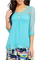 Multiples 3/4 Sleeve Accent Lace Detail Solid Top