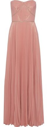 Marchesa Strapless Pleated Metallic Crepe Gown
