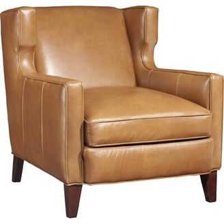 """Hooker Furniture Amista 30"""" W Top Grain Leather Wingback Chair Upholstery Color: Light Brown Genuine Leather"""