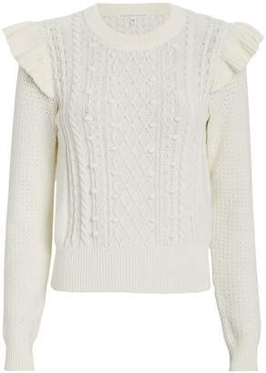 Veronica Beard Earl Ruffled Cable Knit Sweater