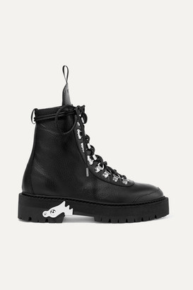 Off-White Hiking Textured-leather Ankle Boots - Black