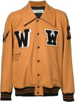 Off-White patched varsity jacket - men - Nylon/Polyamide/Viscose/Virgin Wool - S