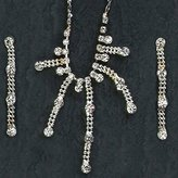 Gc Handcrafted Silver and Crystal Ball Dangle Necklace and Earrings Set