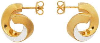Bottega Veneta Gold and White Hoop Earrings