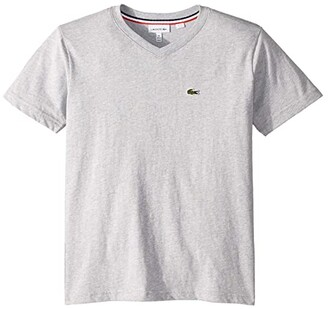 Lacoste Kids Short Sleeve Solid V-Neck T-Shirt (Toddler/Little Kids/Big Kids) (White) Boy's T Shirt