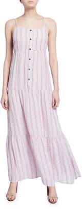 Splendid Promenade Striped Button-Front Tiered Maxi Dress