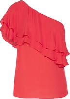 Haute Hippie One-shoulder ruffled silk top