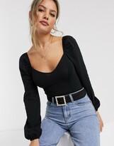 Miss Selfridge long sleeve sweetheart bodysuit in black