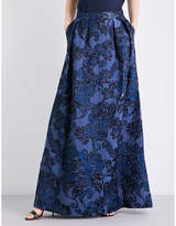 St. John Ladies Floral Classic High-Rise A-Line Brocade Skirt