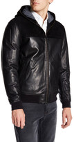 Vince Genuine Suede & Leather Hooded Jacket