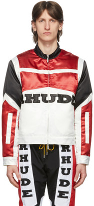Rhude Black and Red Satin Racing Jacket