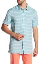 Vince Striped Short Sleeve Trim Fit Shirt