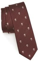Alexander McQueen Men's Skull Polka Dot Silk Skinny Tie