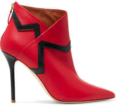 Malone Souliers Emanuel Ungaro Amelie 100 Leather Ankle Boots - Red