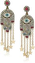 Betsey Johnson Mystic Baroque Queens -Stone and Gold Hamsa Drop Earrings