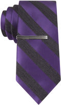 Jf J.Ferrar JF Satin Heather Bar Stripe Tie - Slim