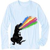 Printstar Women Long Sleeve T-Shirt - Tyrannosaurus T-rex Shooting Rainbow Laser Large
