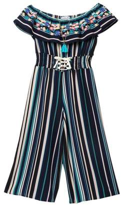 Beautees Sleeveless Ruffle Neck Embroidered Stripe Jumpsuit (Big Girls)