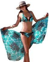EkarLam® Women Swimsuit Swimwear Beachwear Three-pieces Suit Retro Bikini Set Cover-Ups US L (Asian XXL)