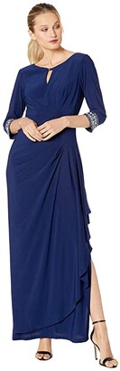Alex Evenings Long A-Line Dress with Embellished Keyhole Cutout Neckline Embellished Sleeves (Cobalt) Women's Dress