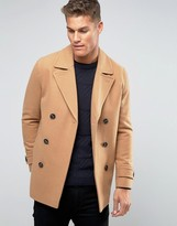Asos Wool Mix Peacoat In Camel