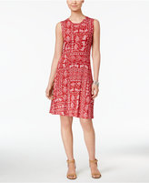 Style&Co. Style & Co Petite Printed Fit & Flare Swing Dress, Only at Macy's