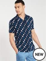 V By Very Short Sleeved Geo Print Shirt - Navy/White/Blue