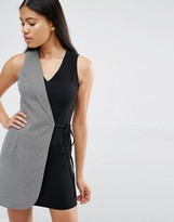 Love Two Tone Tailored Wrap Dress