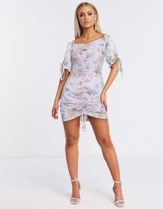Pretty Darling ruched front off shoulder floral dress