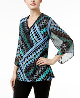JM Collection Printed Chiffon-Sleeve Tunic, Only at Macy's