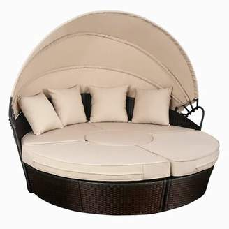 Bay Isle Home Noor Outdoor Mix Brown Rattan Patio Sofa Furniture Round Retractable Canopy Daybed Bay Isle Home
