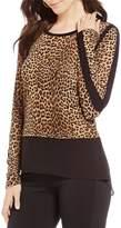 MICHAEL Michael Kors Persian Leopard Print Knit Jersey Hi-Low Georgette Hem Tunic