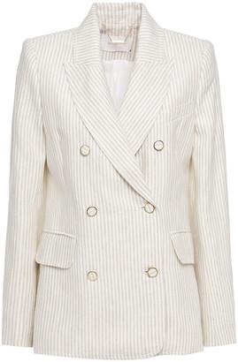 Zimmermann Double-breasted Striped Linen Blazer