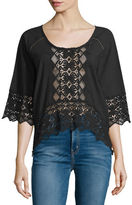 Nightcap Clothing Lace-Inset Half-Sleeve Blouse