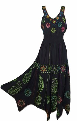 Doorwaytofashion Batik Handkerchief Hem Fit and Flare Hand Embroidered Dress Mirror Work (Black Green)