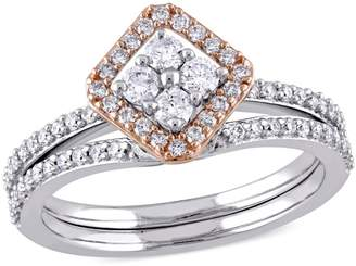 Concerto 0.60 CT. T.W. Diamond Halo Vintage Bridal Set in 14k Two-Tone Gold
