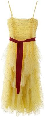 RED Valentino Asymmetric Glittered Polka Dot Tulle Dress