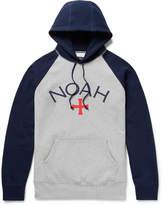 Noah Printed Colour-Block Fleece-Back Cotton-Jersey Hoodie