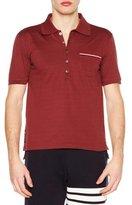 Thom Browne Stripe-Trim Pique Polo Shirt, Light Gray