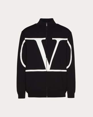 Valentino Vlogo High Neck Viscose Jumper With Zip Man Black Viscose 83%, Polyester 17% XS
