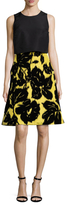 Carolina Herrera Silk Floral Embroidered A Line Dress