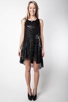 Foley + Corinna Beaded Godet Dress, Black