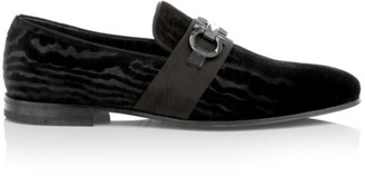 Salvatore Ferragamo Schwartz Formal Slip-On Velvet Loafers