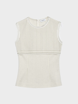 DKNY Pinstripe Wool Top With Raw Edges