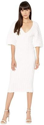 Cushnie Off-the-Shoulder Rib Knit Pencil Dress (White) Women's Clothing
