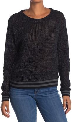Splendid Stripe Trim Metallic Sweater
