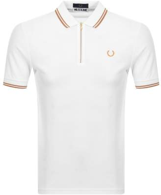 Fred Perry X Miles Kane Zip Twin Tipped Polo White