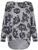 Quiz Grey And Black Flower Print Knitted Top