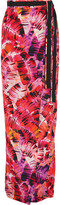 Matthew Williamson Parlatuvier Palm Printed Silk-charmeuse Wrap Skirt - Bright pink