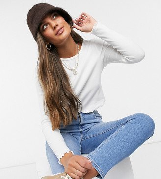 ASOS DESIGN Petite slim fit long sleeve crop top with lettuce edge in white